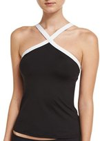 LaBlanca La Blanca Block My Way High-Neck Tankini Swim Top, Black/White