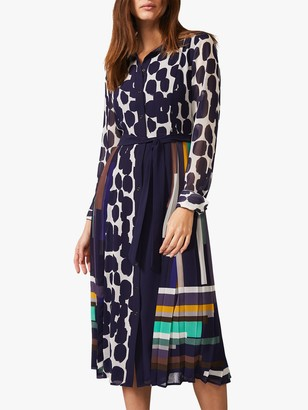 Phase Eight Tanjina Smudge Dress, Navy