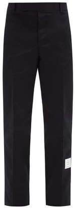 Thom Browne Logo-patch Cotton Straight-leg Chino Trousers - Navy