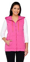 As Is Susan Graver Weekend French Terry Hooded Zip Front Vest