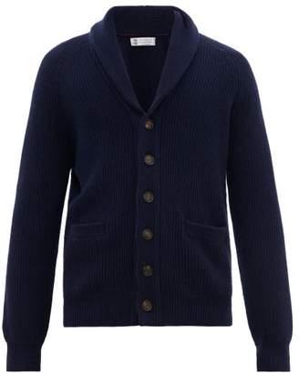 Brunello Cucinelli Shawl Lapel Cashmere Cardigan - Mens - Blue