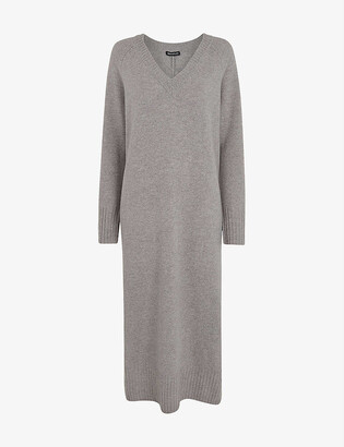 Whistles V-neck wool-knit midi dress