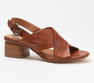 Miz Mooz Leather Cross-Strap Heeled Sandals - Natasha