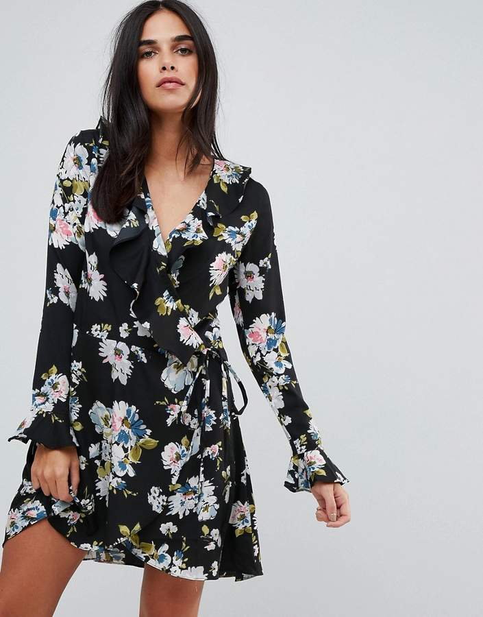 Liquorish Floral Print Wrap Ruffle Dress