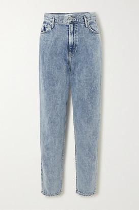 GRLFRND Teagan Pleated High-rise Straight-leg Jeans - Light denim