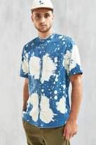 Urban Outfitters Bleach Splatter Denim Short Sleeve Button-Down Shirt