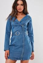 Missguided Blue Belted Bardot Denim Mini Dress