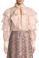 Alice + Olivia Talulah Ruffled Tier Lace Blouse