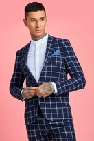 boohoo Mens Navy Skinny Large Scale Windowpane Check Suit Jacket, Navy