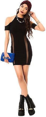 *MKL Collective The Bodycon Mesh Panel Maxi Dress