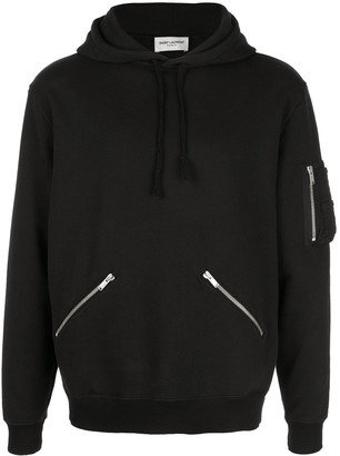 Saint Laurent zip detail hoodie