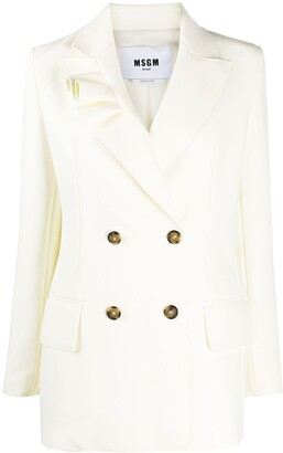 MSGM Ruffle-Detail Single-Breasted Blazer