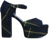 Mulberry tartan check platform sandals