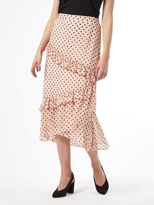 Dorothy Perkins Blush Spot Ruffle Midi Skirt