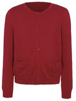 George Girls Red School Scallop Bow Pocket Cardigan