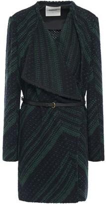 BA&SH Icare Belted Draped Two-tone Jacquard-knit Jacket