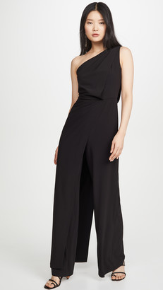 Halston Asymmetric Draped Jumpsuit