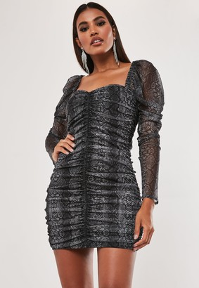 Missguided Petite Grey Snake Print Mesh Ruched Mini Dress