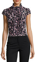 Nanette Lepore Cap-Sleeve Floral Silk Ruffle-Trim Blouse, Black/Multicolor