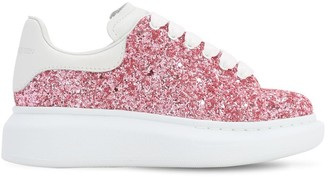 Alexander McQueen Glittered Cotton Blend Lace-Up Sneakers