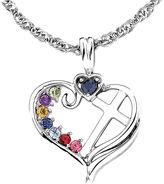 JCPenney FINE JEWELRY Personalized Mom Birthstone Cross within Heart Pendant Necklace