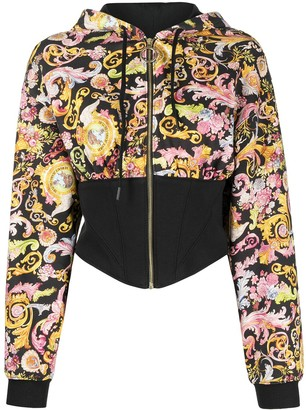 Versace Jeans Couture Baroque-Print Contrast Hoodie