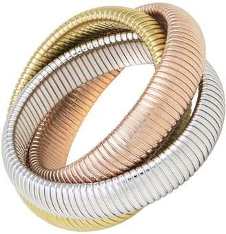 Janis Savitt High Polished Gold, Rose Gold and Rhodium Triple Cobra Bracelet