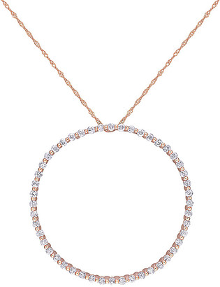 Rina Limor Fine Jewelry 10K Rose Gold 2.40 Ct. Tw. White Sapphire Pendant Necklace