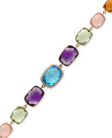 Effy Multi-Gemstone (41 ct. t.w.) and Diamond (1/5 ct. t.w.) Link Bracelet in 14k Gold