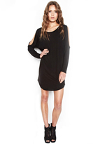 Michael Lauren Uri Long Sleeve Open Shoulder Dress in Black
