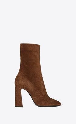 Saint Laurent Heel Booties Maddie Boots In Suede Toffee 2