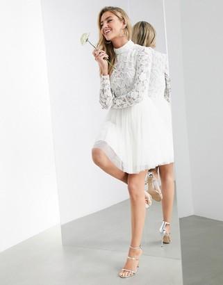 ASOS EDITION Arabella embellished bodice mini wedding dress with mesh skirt