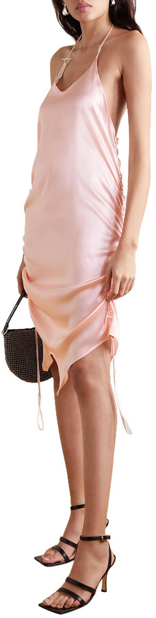Thumbnail for your product : IOANNES Asymmetric Ruched Silk-blend Satin Halterneck Mini Dress
