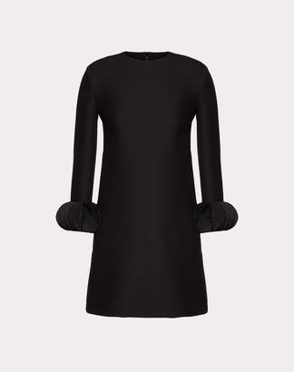 Valentino Embroidered Crepe Couture Dress Women Black Virgin Wool 65%, Silk 35% 40