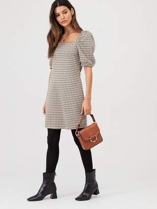 Very Check Volume Sleeve Mini Dress - Multi