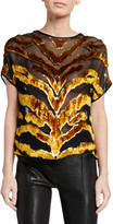 ADAM by Adam Lippes Tiger-Striped Burnout Velvet Dolman-Sleeve Top