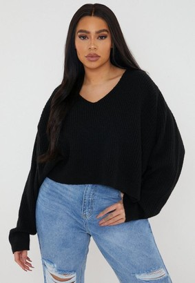 Missguided Recycled Plus Size Black Rib Knit V Neck Sweater