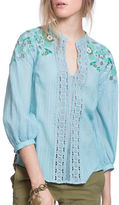 Plenty by Tracy Reese Embroidered Kurta Three Quarter Sleeve Blouse