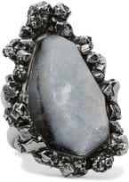 Alexander McQueen Silver-tone Labradorite Ring