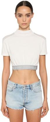 Heron Preston Cropped Cotton Jersey Top W/ Logo Band