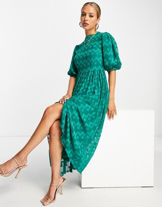 ASOS DESIGN high neck pleated chevron dobby midi dress with puff sleeve in forest green