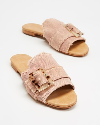 Walnut Melbourne Women's Pink Flat Sandals - Meadow Slides - Size 37 at The Iconic