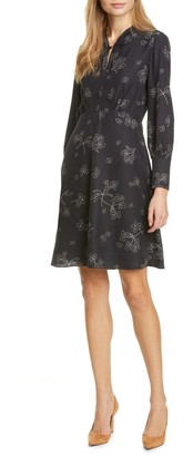 Tailored by Rebecca Taylor Floral Long Sleeve Silk Blend Dress