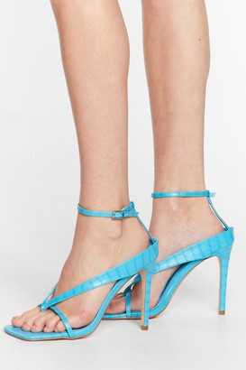 Nasty Gal Womens Thong Time Coming Strappy Stiletto Heels - Blue - 3