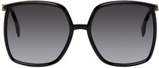 Fendi Black Oversized Thin Square Glasses