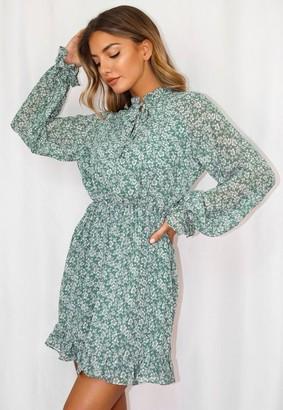 Missguided Sage Floral Print Keyhole Smock Dress