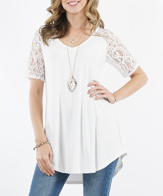 Lydiane Women's Tunics IVORY - Ivory V-Neck Lace-Sleeve Curved-Hem Tunic - Women