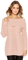 Quiz Pale Pink Cable Knit Bardot Jumper