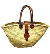 Moroccan Bazaar Moroccan Straw & Leather French Market Basket Beach Bag Shopping Tote Moroccan
