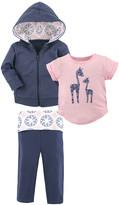 Yoga Sprout Girls' Yoga Pants Whimsical - Navy & Pink Giraffe Hoodie Set - Toddler & Girls